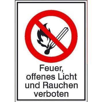 Feuer, offenes Licht und Rauchen verboten - 13,10x18,50cm DE1035