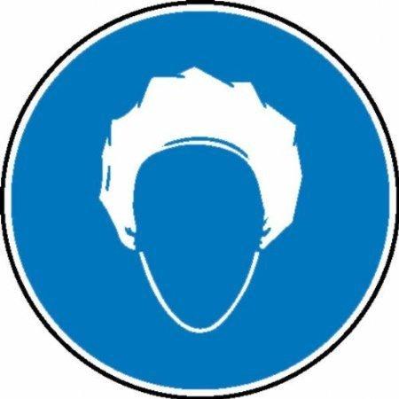 Kopfhaube tragen Gebotsschild, Folie, Größe - 20cm DE568