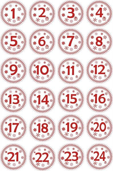 INDIGOS UG - Aufkleber für Adventskalender 1 bis 24 - weiß Vintage Style