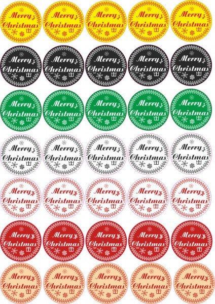 Merry Christmas - Aufkleber für Weihnachten 35 Stück - Mix Vintage für Geschenke oder Karten