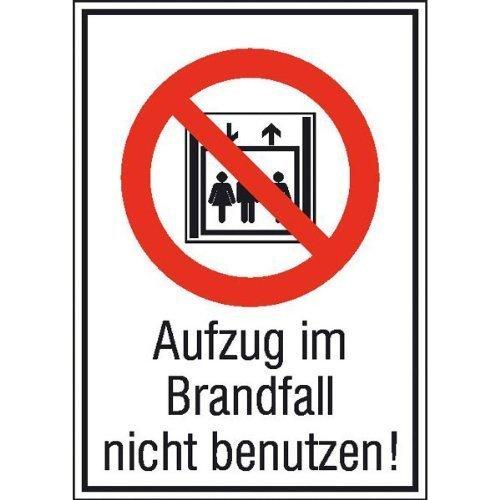 Aufzug im Brandfall nicht benutzen - 13,10x18,50cm DE21
