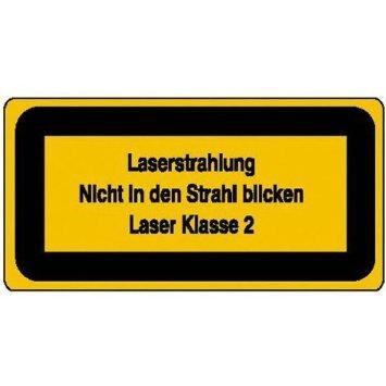 Laserkennzeichnung Laserstrahlung Nicht in den Strahl blicken - 14,80x7,40cm DE903