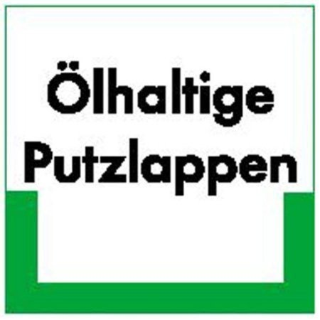 Ölhaltige Putzlappen RESIGN/Textschild, PE-od. PP - 10x10cm DE398