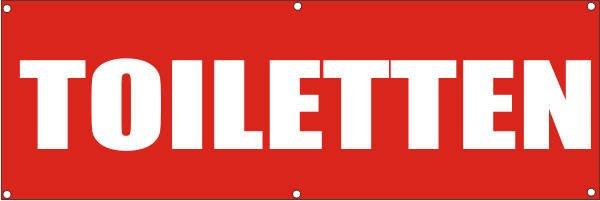 Werbeplane / Gerüstplane - p104 - Toiletten - NEU - für Baustelle, Garten, Zaun oder Veranstaltung