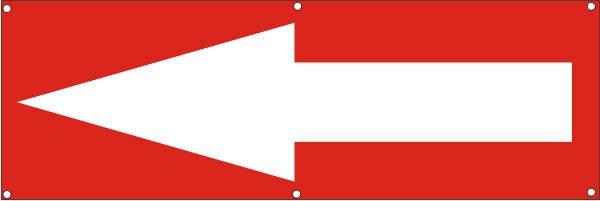 Werbeplane / Gerüstplane - p115 - Pfeil links - NEU - für Baustelle, Garten, Zaun oder Veranstaltung