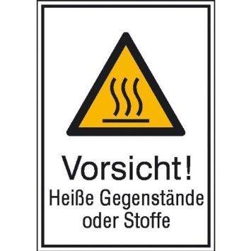 Vorsicht! Heiße Gegenstände oder Stoffe - 13,10x18,50cm DE977
