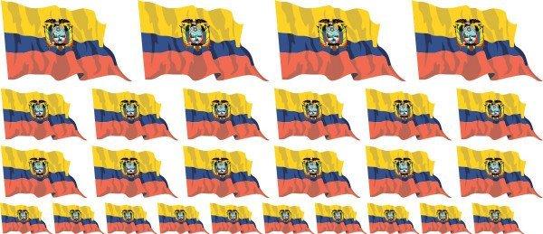 Mini Aufkleber Set - Fahne - Ecuador