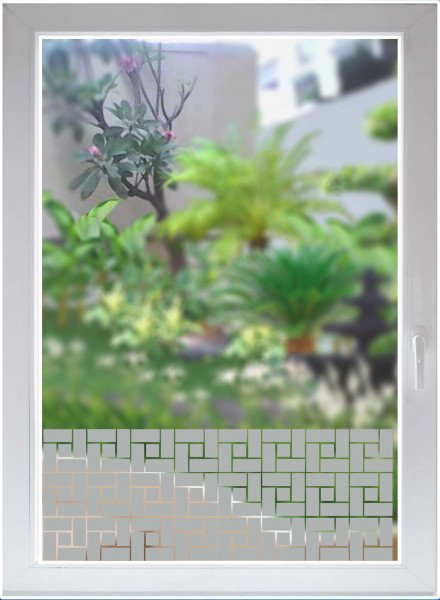 Glasdekorfolie - Dekorationsfolie silber matt - Blickdichte Fensterfolie - Quadrangles satin opaque