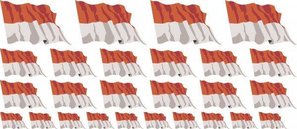 Mini Aufkleber Set - Fahne - Indonesien