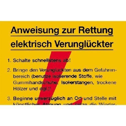Sicherheitsaushang Anweisung zur Rettung elektrisch Verunglückter - 20x30cm DE163