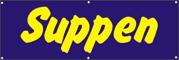 Werbeplane / Gerüstplane - p072 - Suppen - NEU - für Baustelle, Garten, Zaun oder Veranstaltung