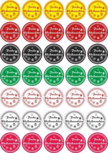Frohe Weihnachten - Aufkleber für Weihnachten 35 Stück - Mix Vintage für Geschenke oder Karten