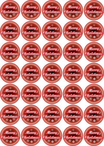Merry Christmas - Aufkleber für Weihnachten 35 Stück - Farbverlauf Vintage für Geschenke oder Karten