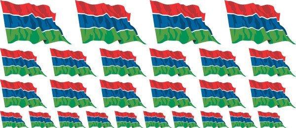 Mini Aufkleber Set - Fahne - Gambia