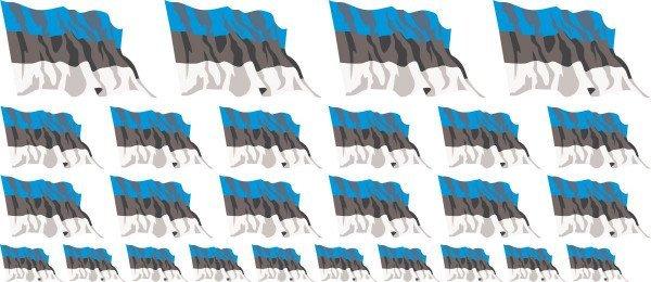 Mini Aufkleber Set - Fahne - Estland