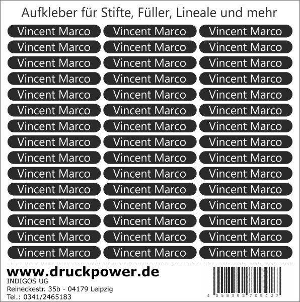 Namensaufkleber Sticker - 51x7 mm - 140 Stück